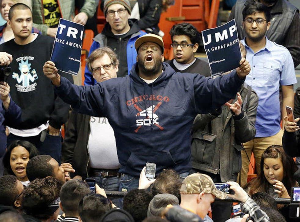Protestor at a Trump event