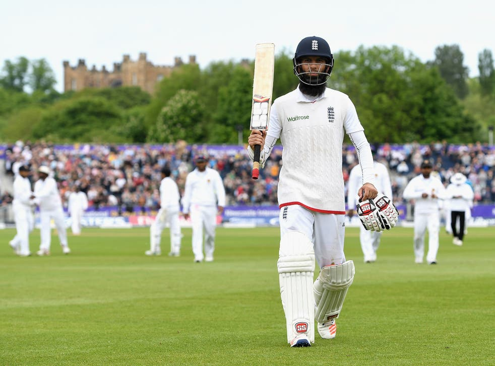 Moeen salutes the crowd after finishing with an unbeaten 155