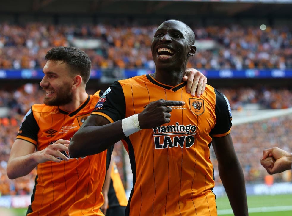 Mohamed Diame celebrates after scoring for Hull in the Championship play-off final