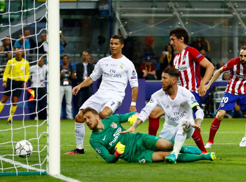 Ramos bundles the ball over the line for the opening goal
