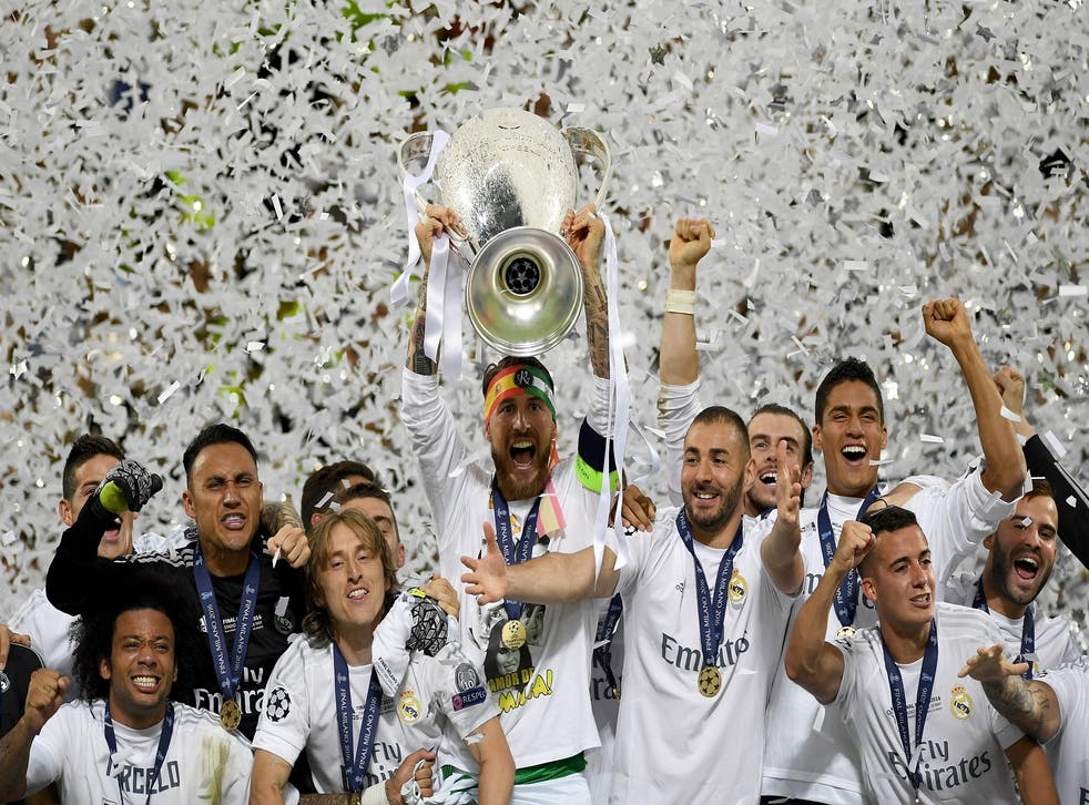 Sergio Ramos lifts the Champions League trophy