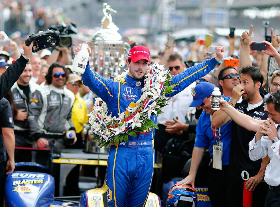 Alexander Rossi celebrates winning the Indy 500