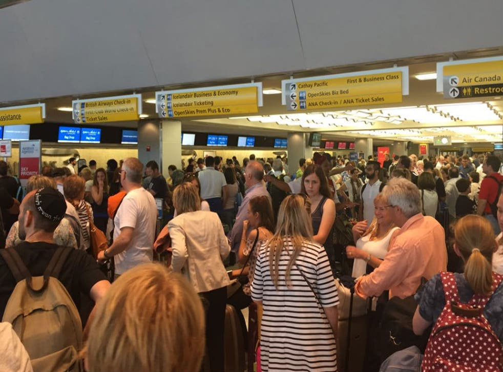 An estimated 1,500 passengers were queuing to check in at one point