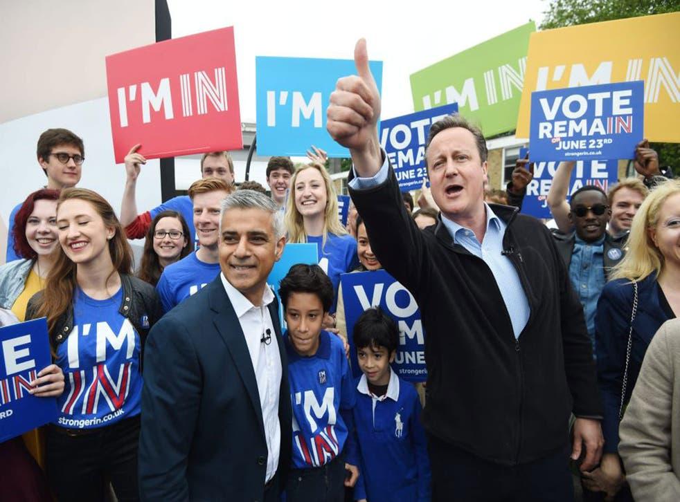 Sadiq Khan and David Cameron at Remain rally in south London yesterday
