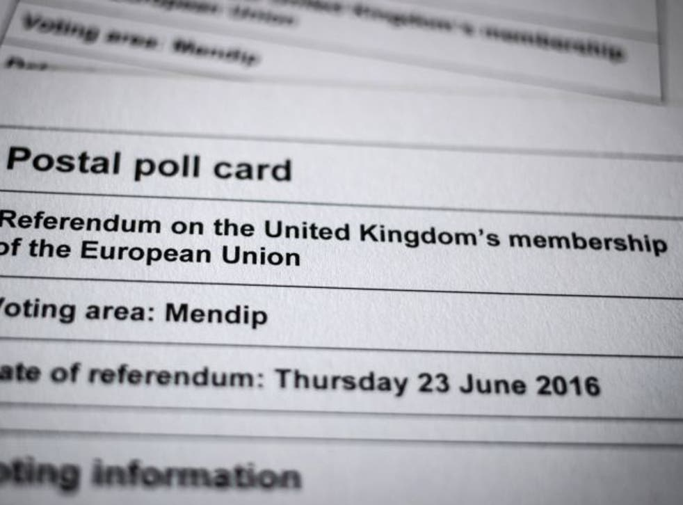 A postal poll card for the referendum on the UK's membership of the European Union on June 23