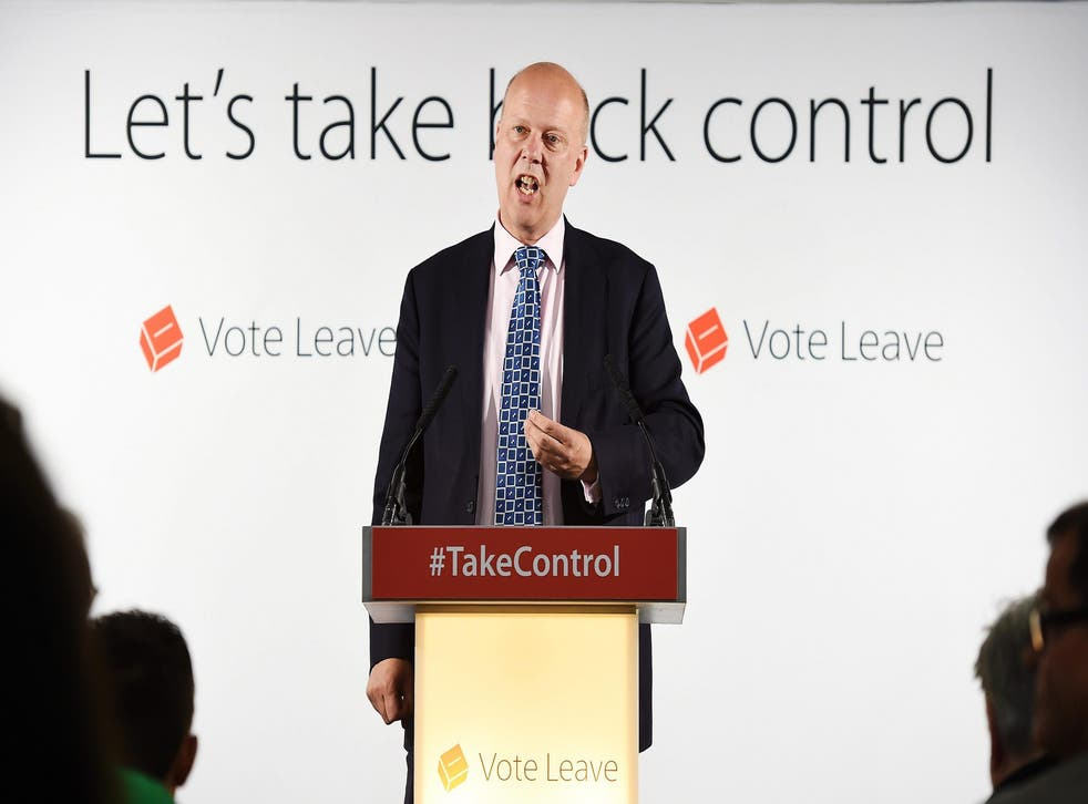 Leader of the House of Commons Chris Grayling delivers a speech at the Vote Leave campaign headquarters in London
