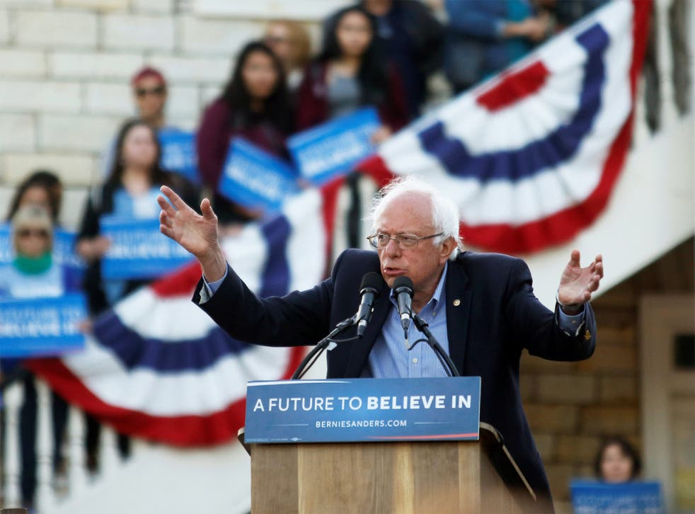 Bernie Sanders on the stump in California, where he hopes to pull off an upset against Hillary Clinton on Tuesday