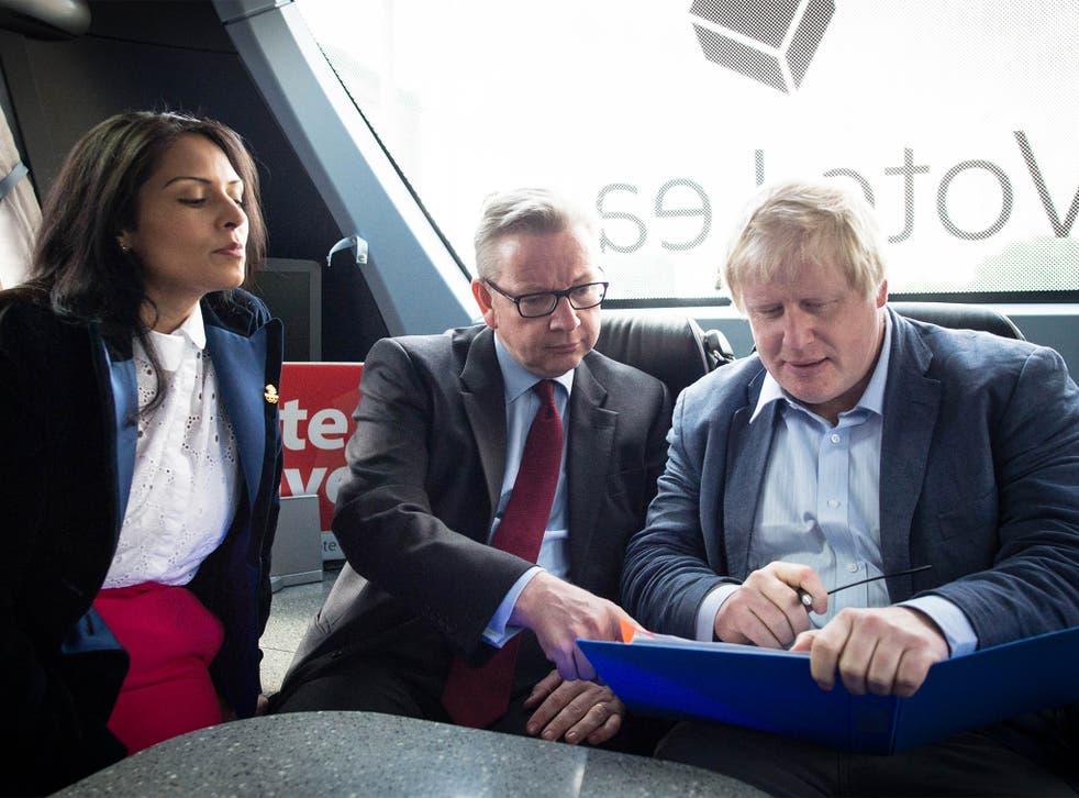 Priti Patel, Michael Gove and Boris Johnson on the Vote Leave campaign bus in Lancashire on Wednesday