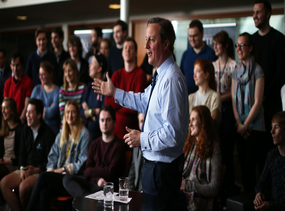 David Cameron, pictured, addresses students at Exeter University in April about the upcoming referendum