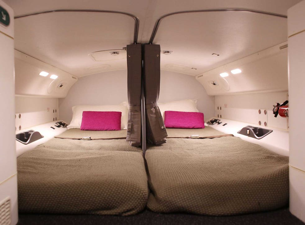 The interior of the pilots sleeping quarters on the Boeing 787 Dreamliner