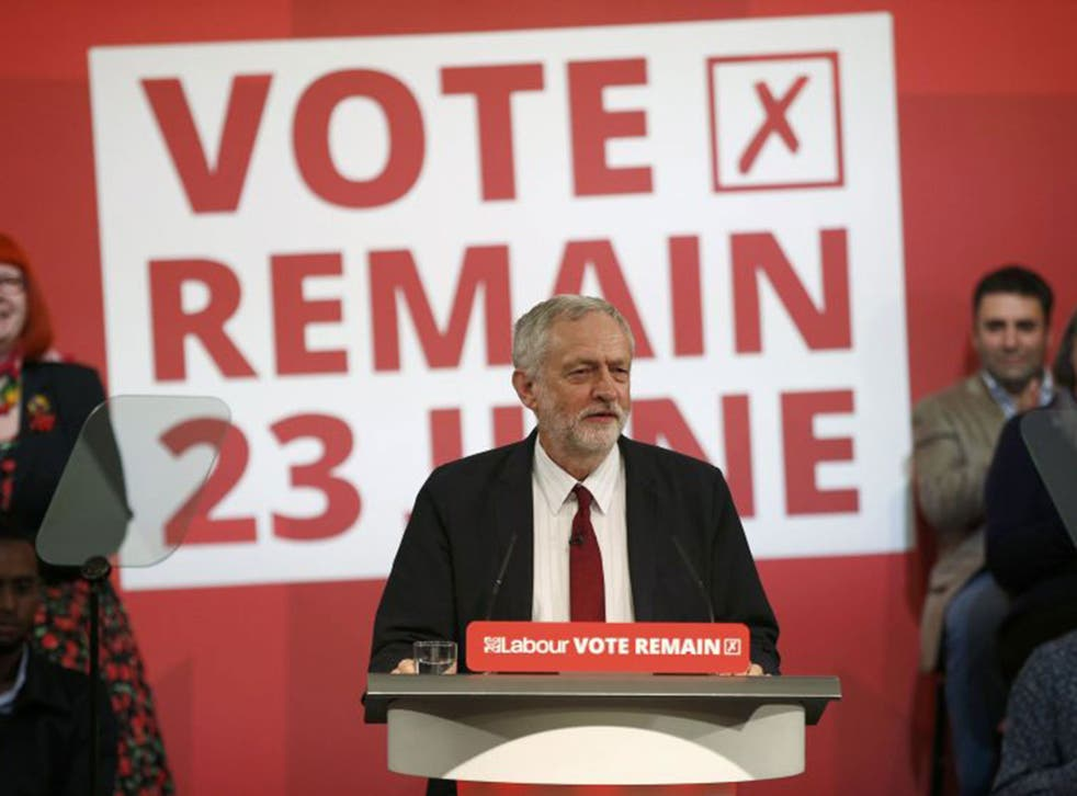 Jeremy Corbyn addresses an event stating why he wants Britain to remain in the EU, in London, 2 June