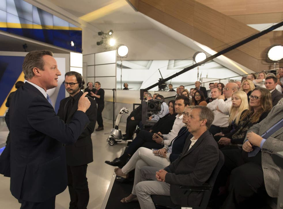 David Cameron answers questions from the audience last night during the Sky News Brexit debate