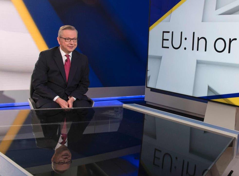 Michael Gove on the Sky News set
