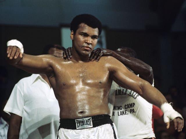 Muhammad Ali training ahead of his heavyweight fight against British Richard Dunn in 1976