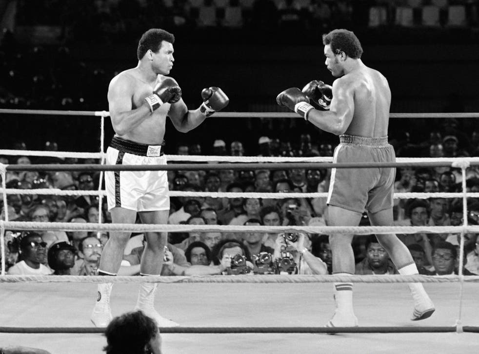 The 'Rumble in the Jungle' fight between Muhammad Ali (left) and George Foreman in Kinshasa on October 30, 1974