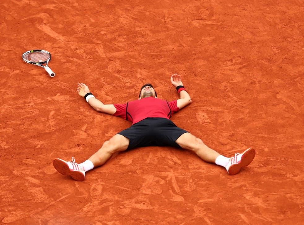 Novak Djokovic celebrates victory in the French Open final
