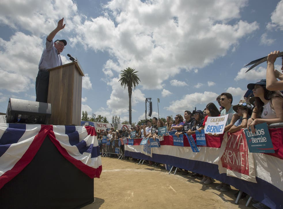 Bernie Sanders campaigns in East Los Angeles, during a campaign slog that he hopes will help him to edge out Hillary Clinton in California