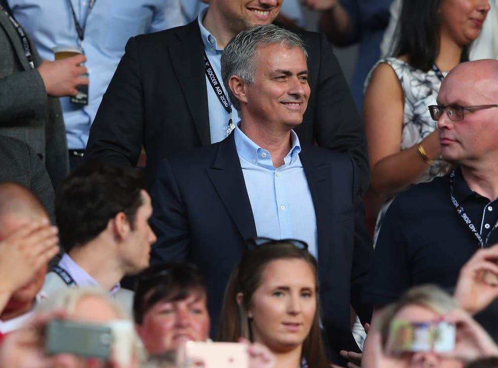 Jose Mourinho watches the Soccer Aid charity match from the stands at Old Trafford