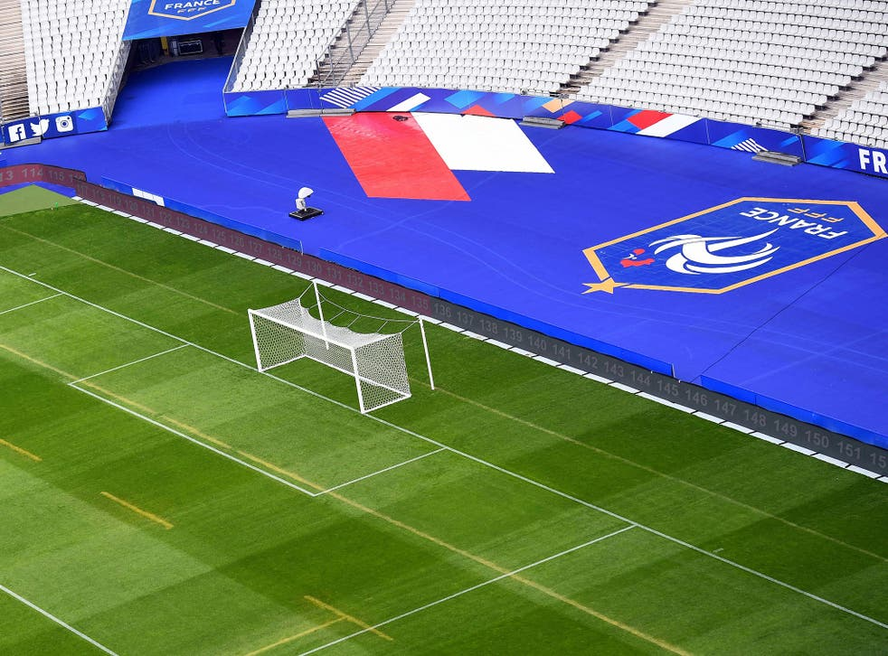 A view of the Stade de France which hosts the first game