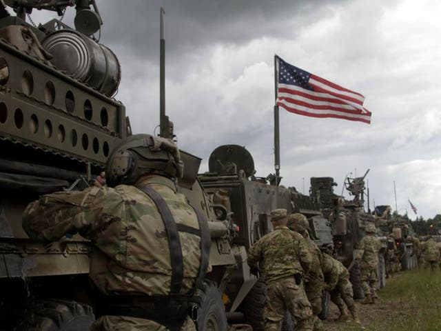 US soldiers en route to take part in the NATO exercises in Lithuania, Latvia and Estonia