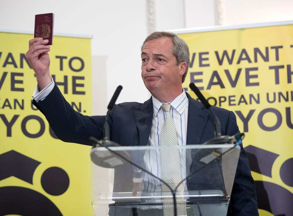 Ukip leader Nigel Farage holds up his British passport as he speaks in the run up to the EU referendum, held in June 2016