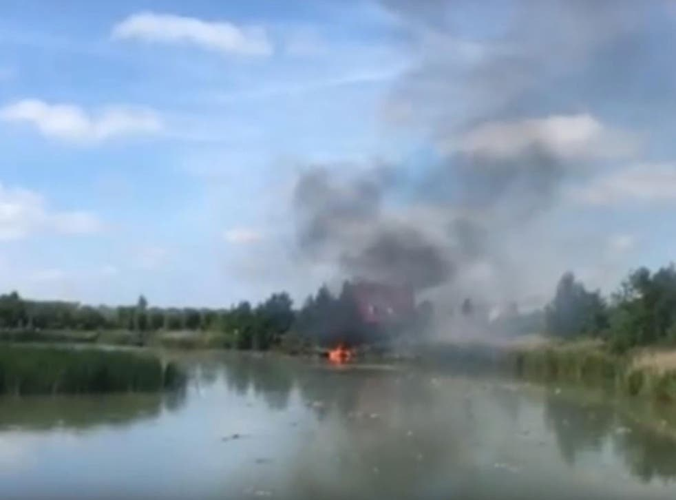 The F-5 fighter jet crashed during a display at an air show in Leeuwarden, the Netherlands, on 9 June