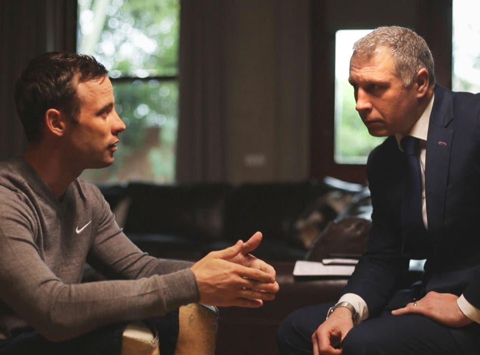 Oscar Pistorius talking to Mark Williams-Thomas ahead of his return to prison for the murder of Reeva Steenkamp