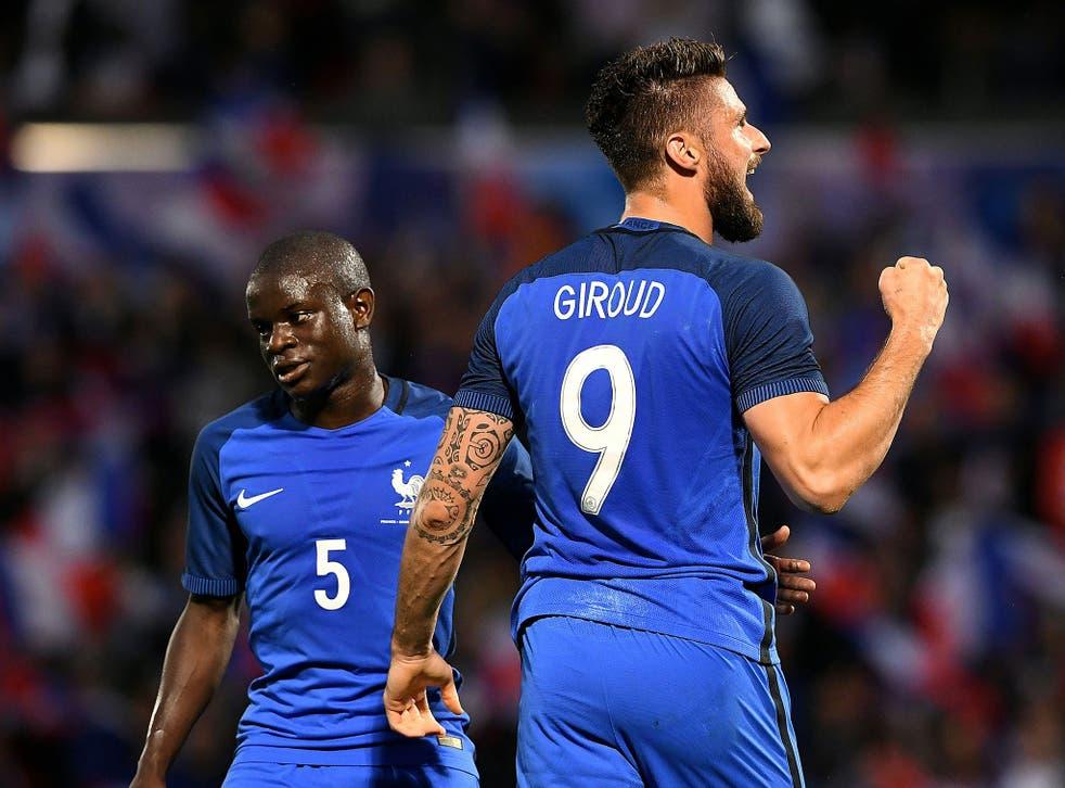 N'Golo Kante on France duty with Arsenal striker Olivier Giroud