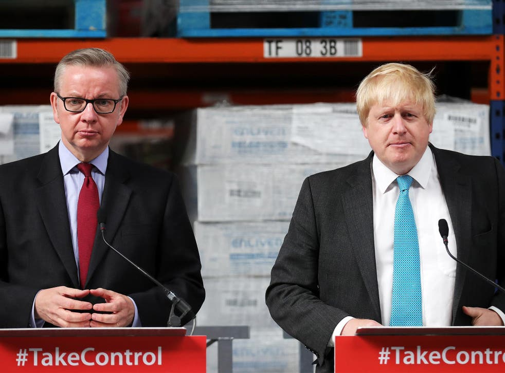 Boris Johnson and Michael Gove address workers during a Vote Leave campaign visit to DCS Manufacturing Group on June 6, 20016 in Stratford-Upon-Avon, England