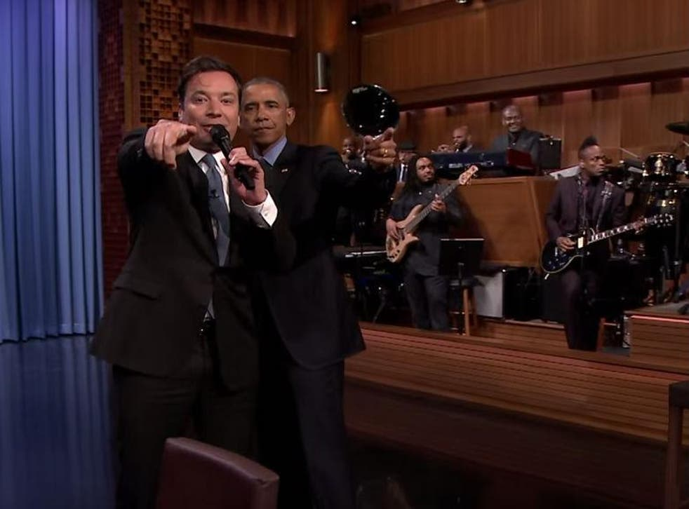 Mr Obama is the 'Baracky with the good hair', joked Jimmy Fallon