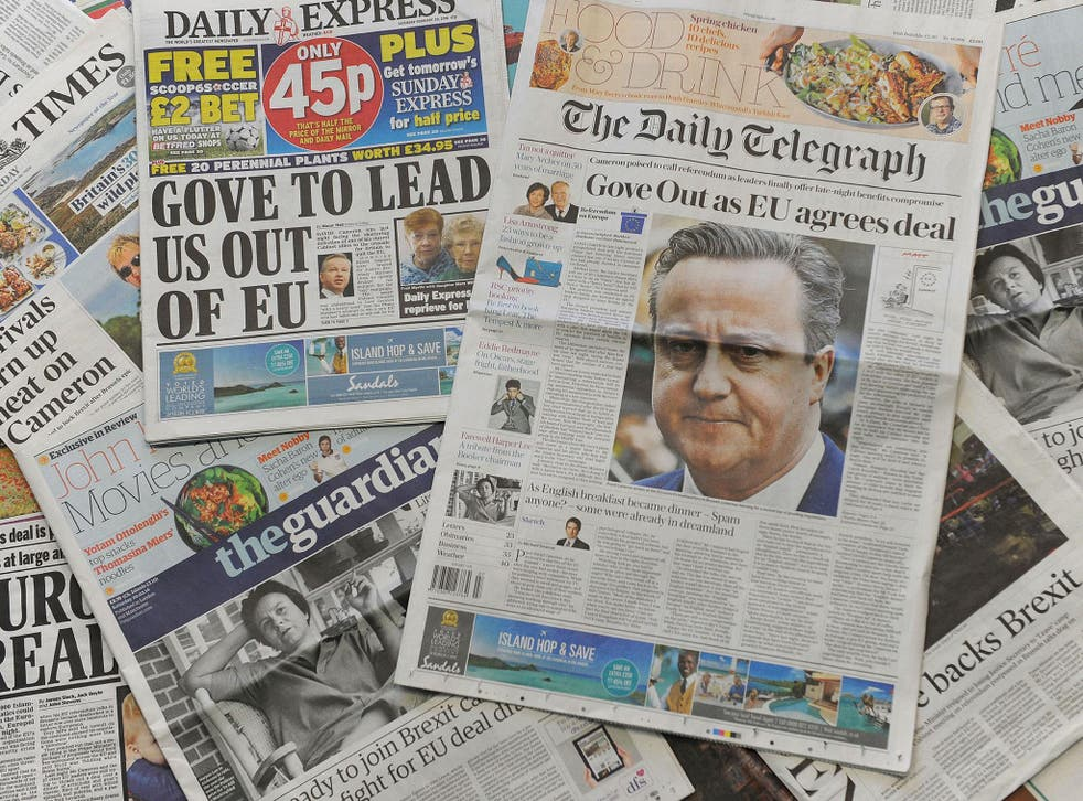 National newspaper headlines on 20 Feb 2016 following Cameron's EU deal