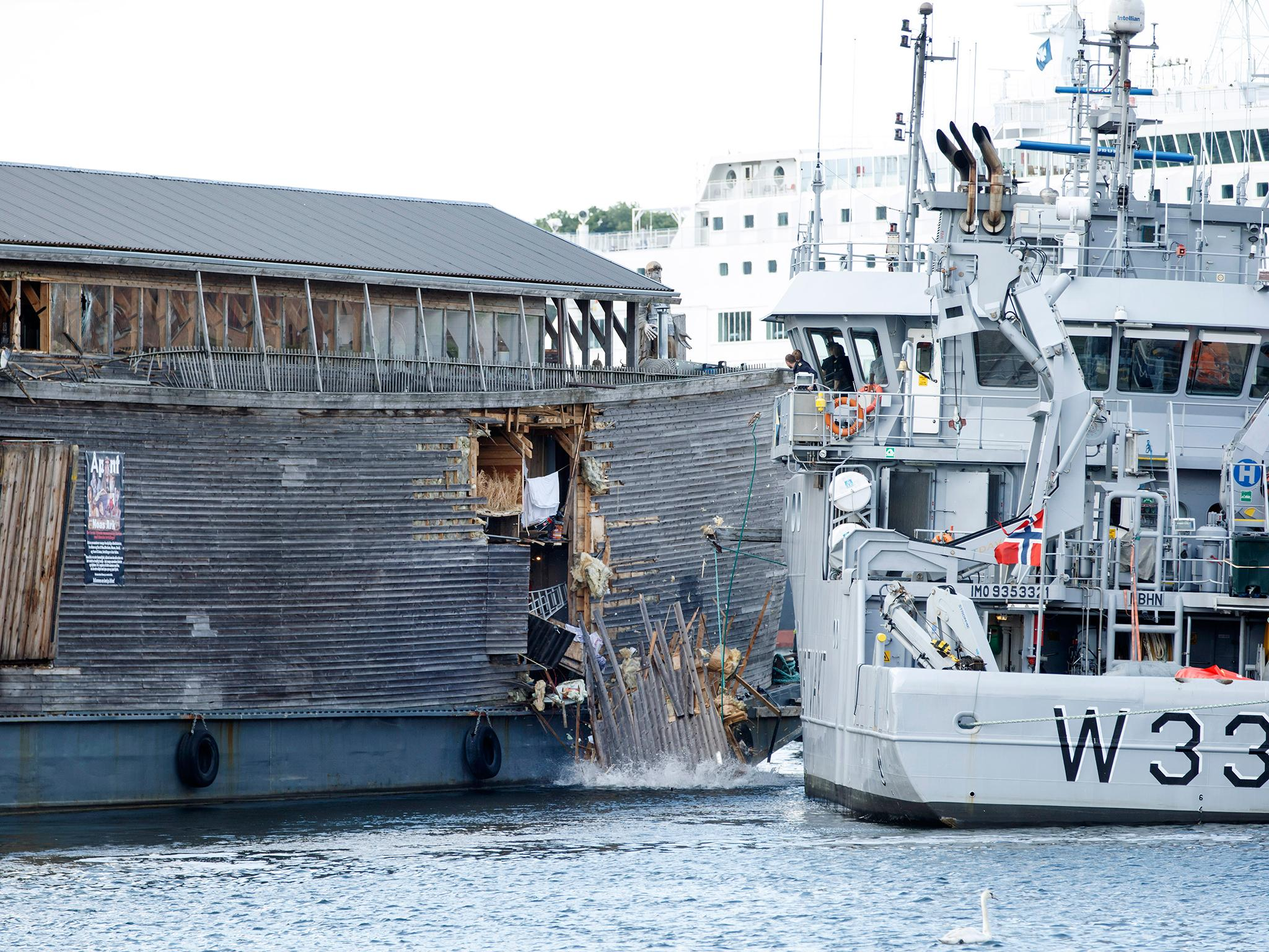 noah u0027s ark replica badly damaged after colliding with coastguard