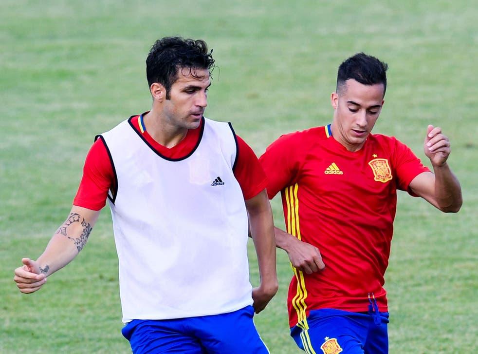 Cesc Fabregas warms up for Euro 2016