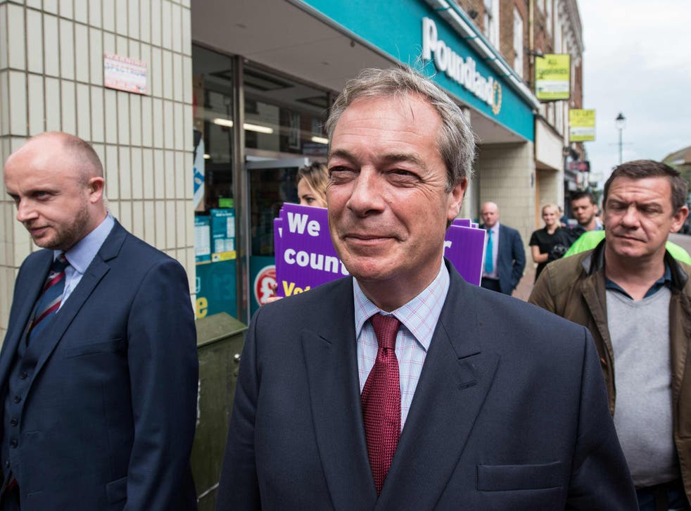 Nigel Farage visiting Sittingbourne for the Brexit campaign yesterday