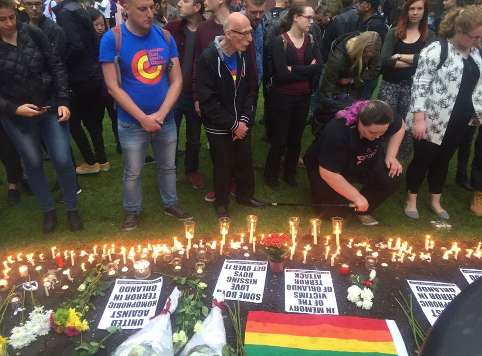 Crowds gathered in Old Compton Street in Soho as a sign of respect for the victims of the Orlando shooting