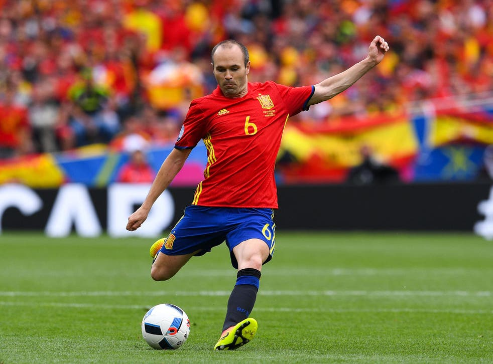 Andres Iniesta during Spain's opening game