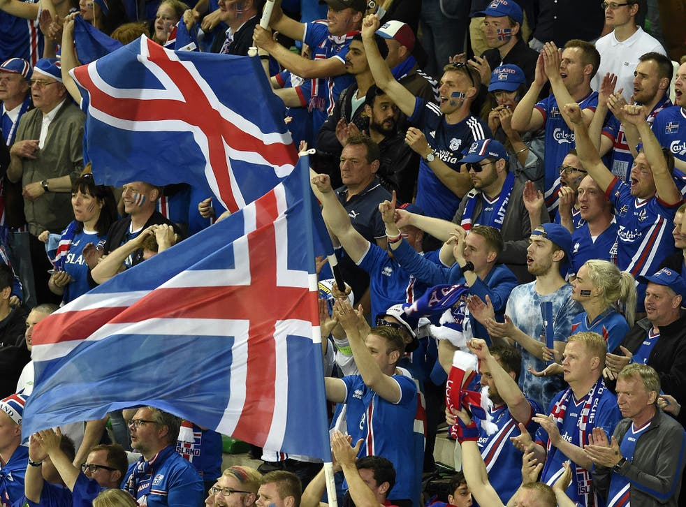 Iceland fans watch their 1-1 draw with Portugal