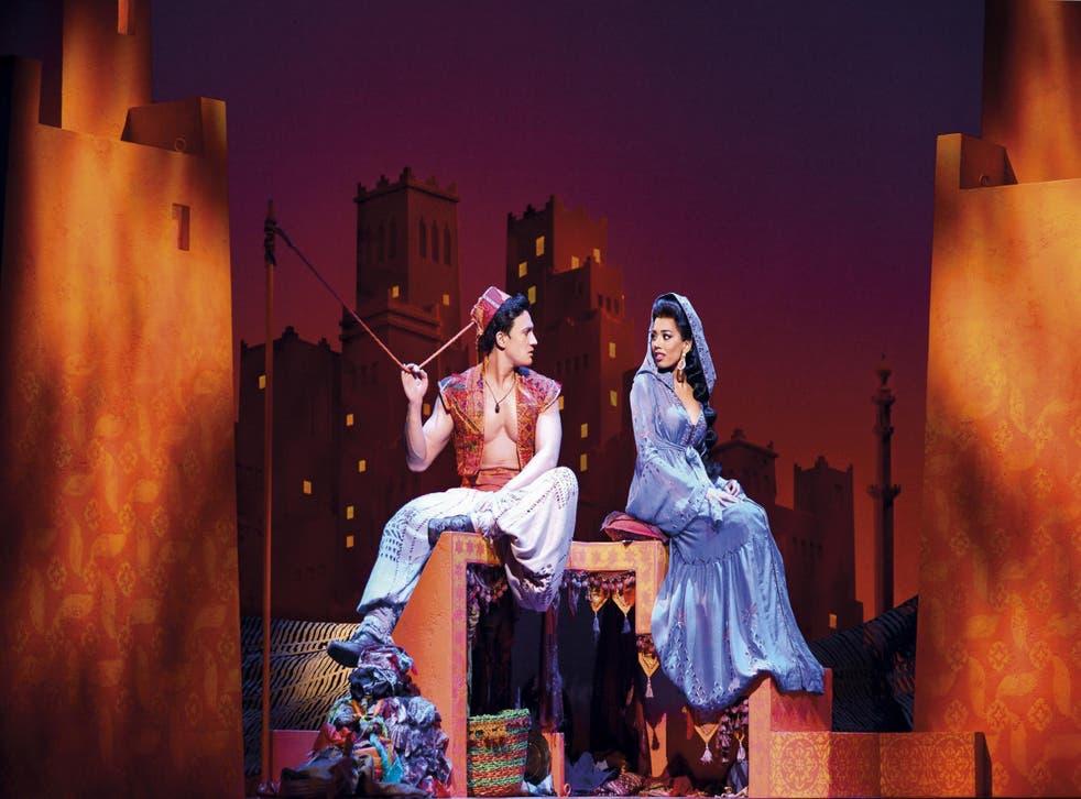 Dean John-Wilson (Aladdin) and Jade Ewen (Jasmine) star in the Disney hit in London