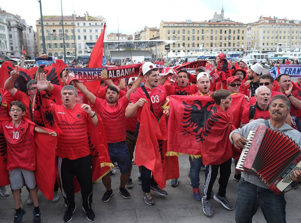 Albania fans ahead of their game against France