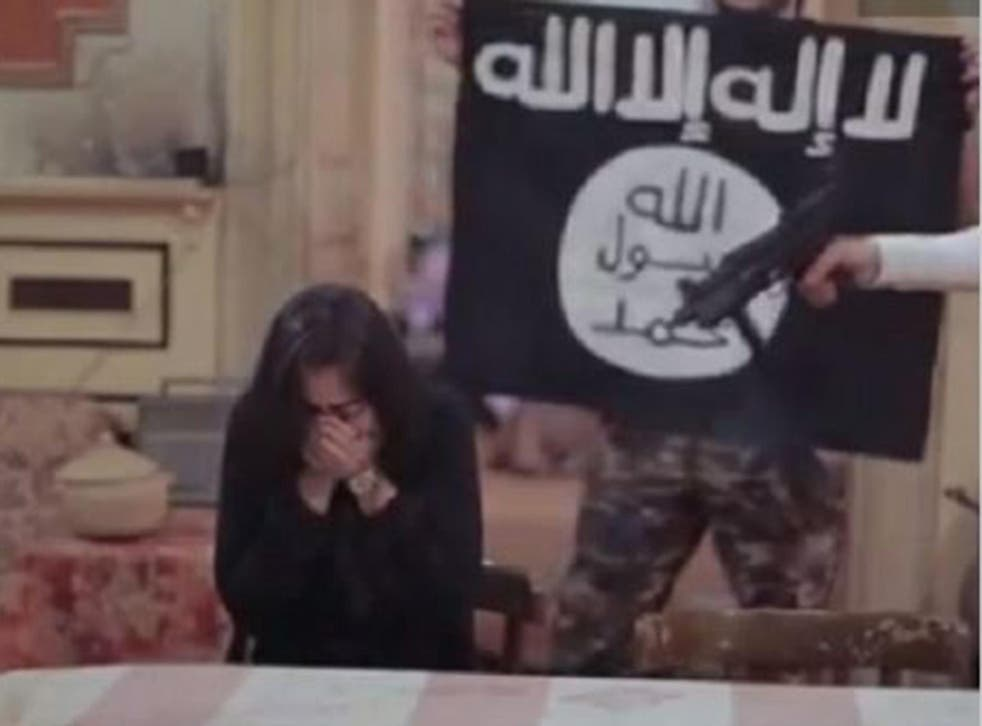Heba Magdi (left) was forced to beg for her life in front of actors dressed as Isis militants