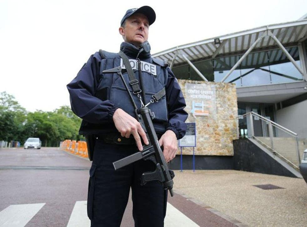 Armed gendarmerie at the entrance of the Stade de Montbauron in Versailles. France is already on high alert