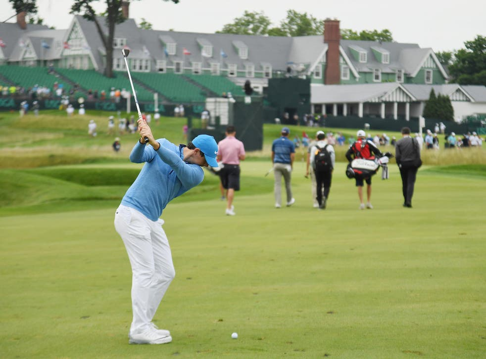 McIlroy plays a shot during a practice round at Oakmont