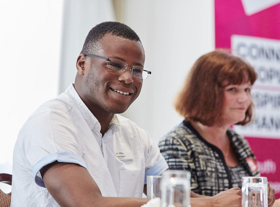 Dami Benbow with Julie Cooper MP, speaking at a EU referendum event.
