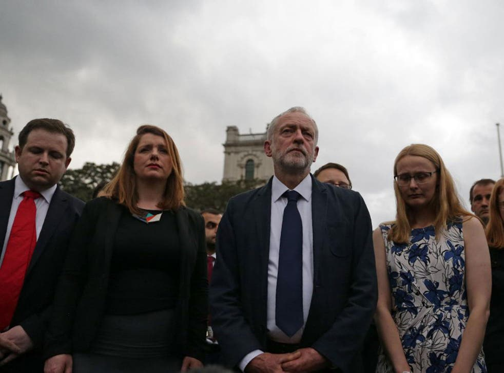 Labour leader Jeremy Corbyn was among colleagues from all parties at a vigil for Jo Cox in Parliament Square