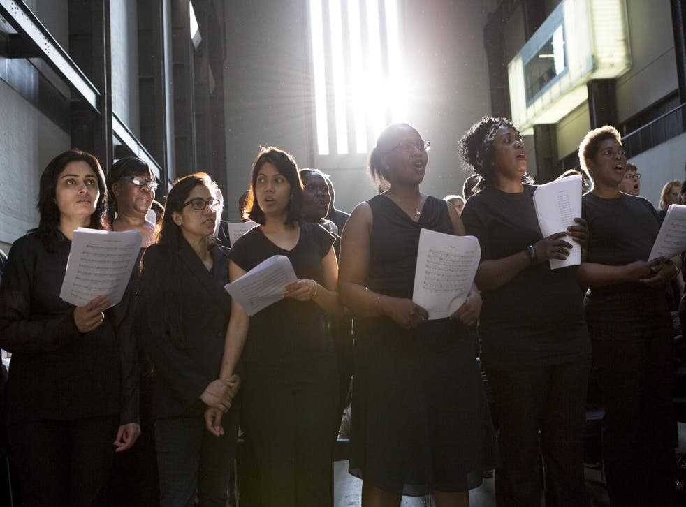 Singers rehearse for a performance of Peter Liversidge's The Bridge, 6 June