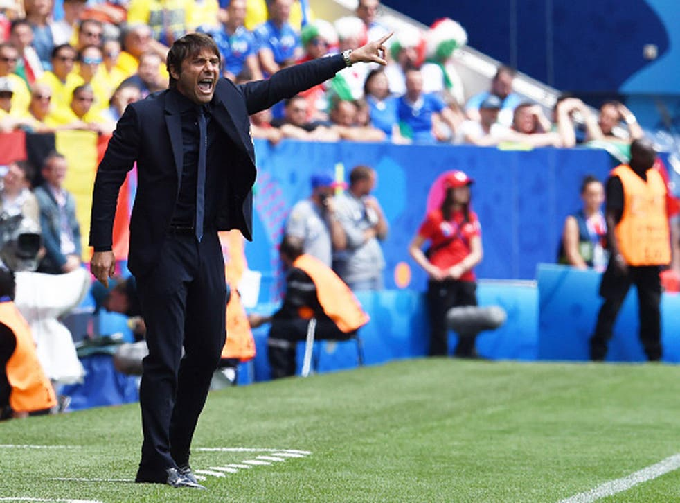 Antonio Conte directs Italian proceedings during the 1-0 victory over Sweden on Friday (Getty)