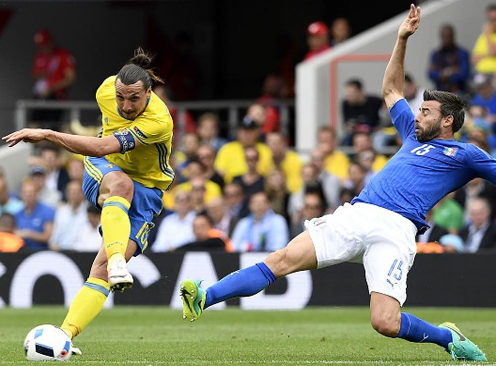 Zlatan Ibrahimovic fires in a shot against Italy in Toulouse (Getty)