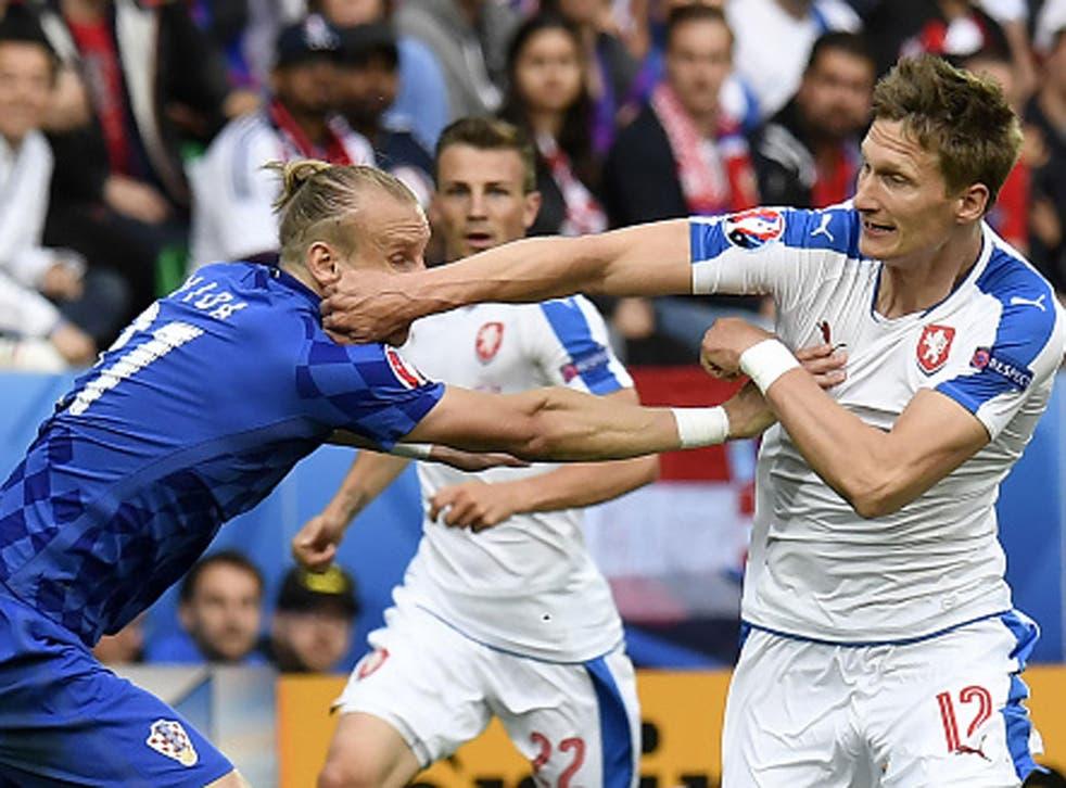 Milan Skoda battles for possession with Croatia's Domagoj Vida in Saint-Etienne on Friday (Getty)