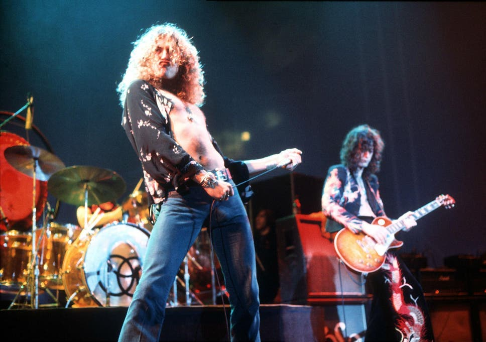 4cbabcb2 Robert Plant and guitarist Jimmy Page in 1975 at the peak of their Led  Zeppelin pomp