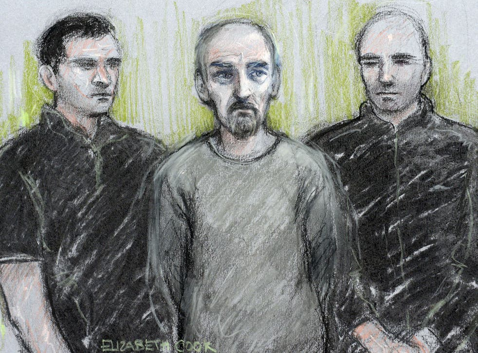 A court artist sketch of Thomas Mair at Westminster Magistrates' Court